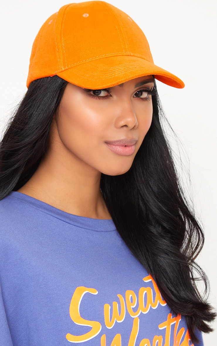 Orange Woven Baseball Cap 2