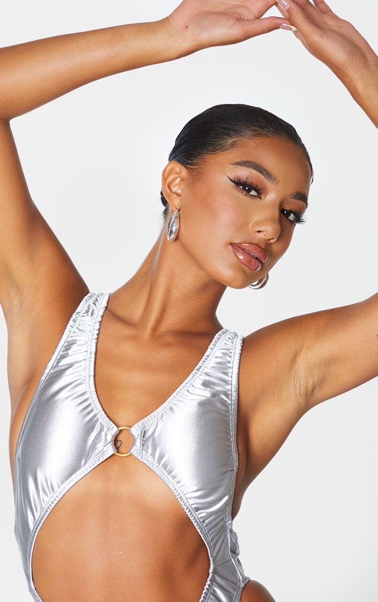 Silver Satin Look Cut Out Ring Front Swimsuit 4