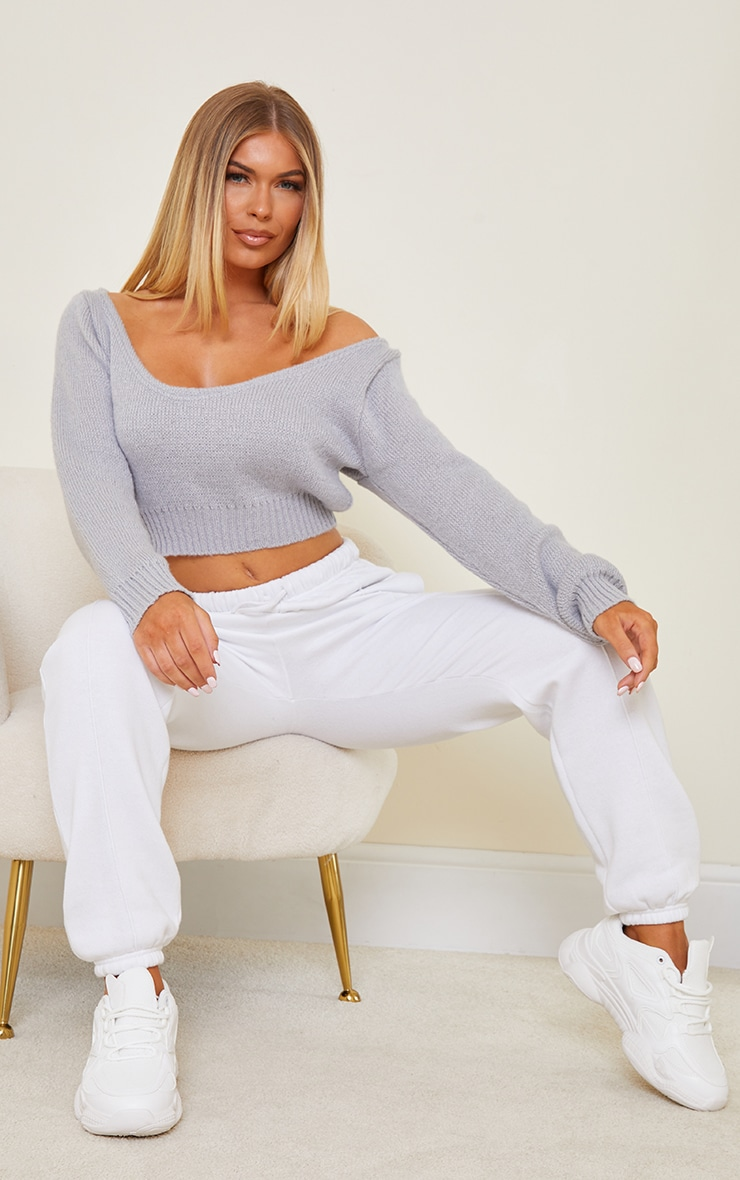 Grey V Neck Off Shoulder Soft Knitted Crop Jumper 3
