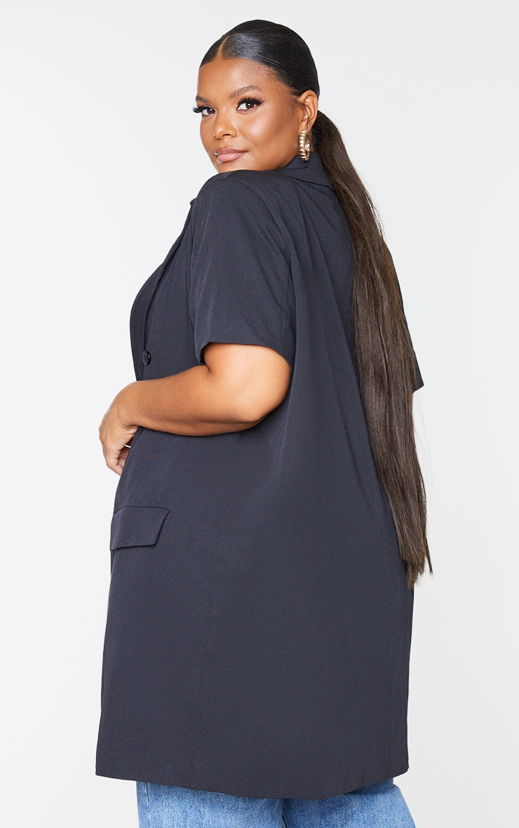 Plus Black Woven Short Sleeve Longline Belted Blazer 2