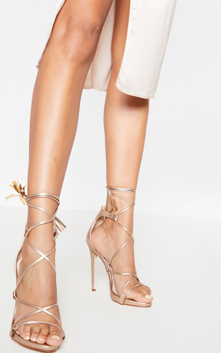 Rose Gold PU Tassel Lace Up Heels 2