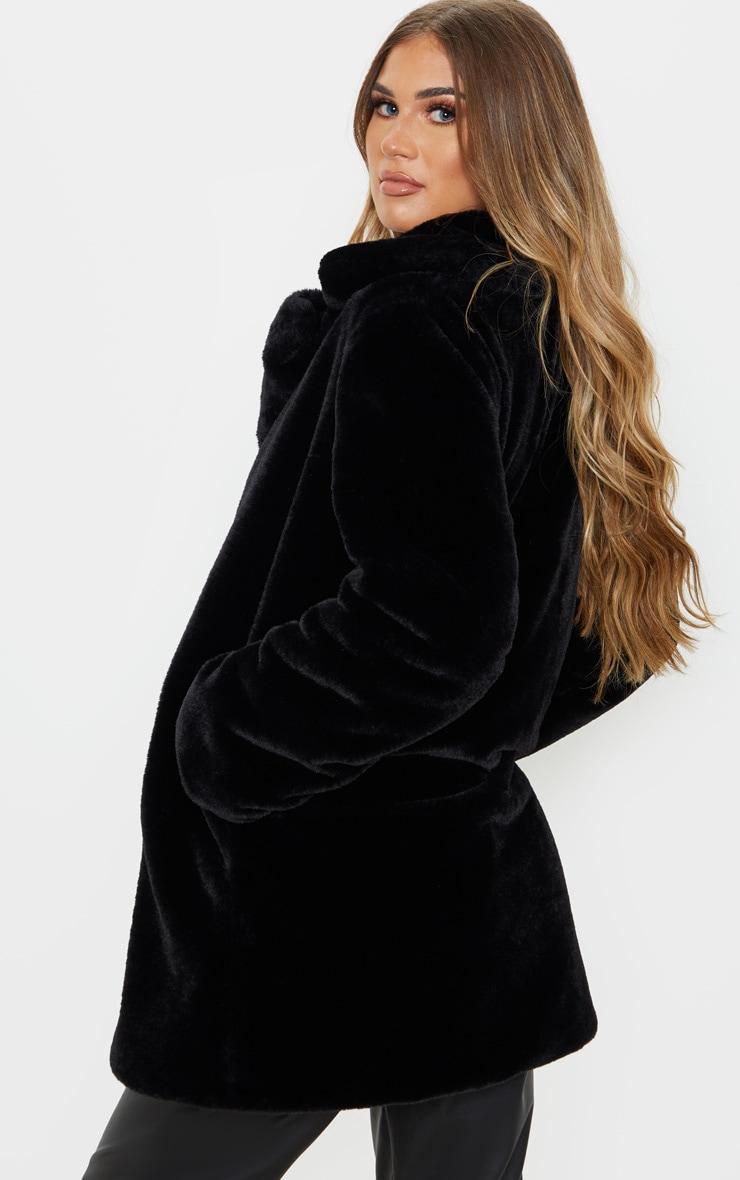 Black Faux Fur Midi Collar Coat 2