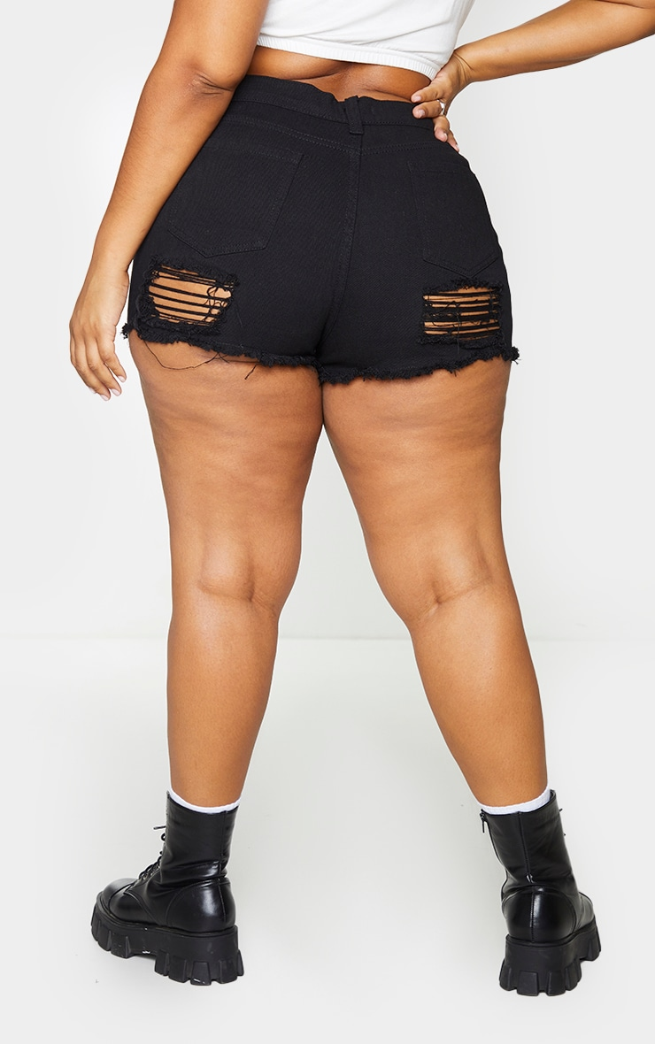 Plus Black Bum Rip Denim Hot Pants 3