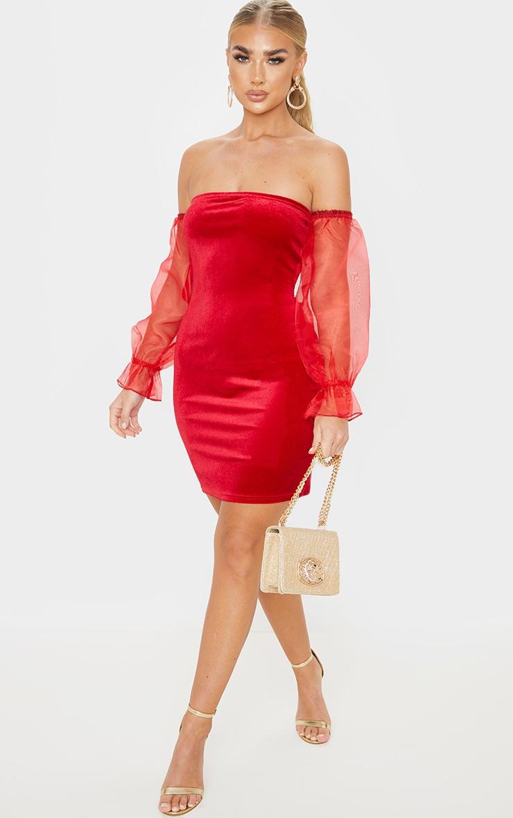 Red Organza Bardot Sleeve Velvet Bodycon Dress 4