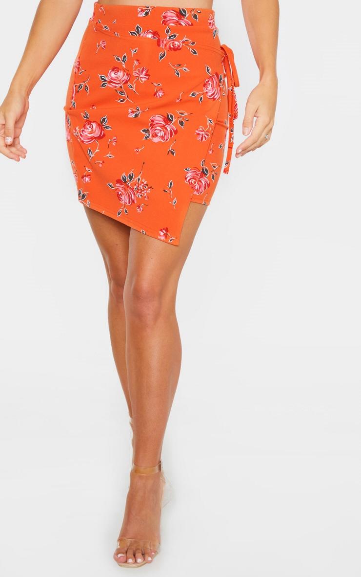Orange Floral Print Crepe Floral Print Wrap Detail Skirt 2