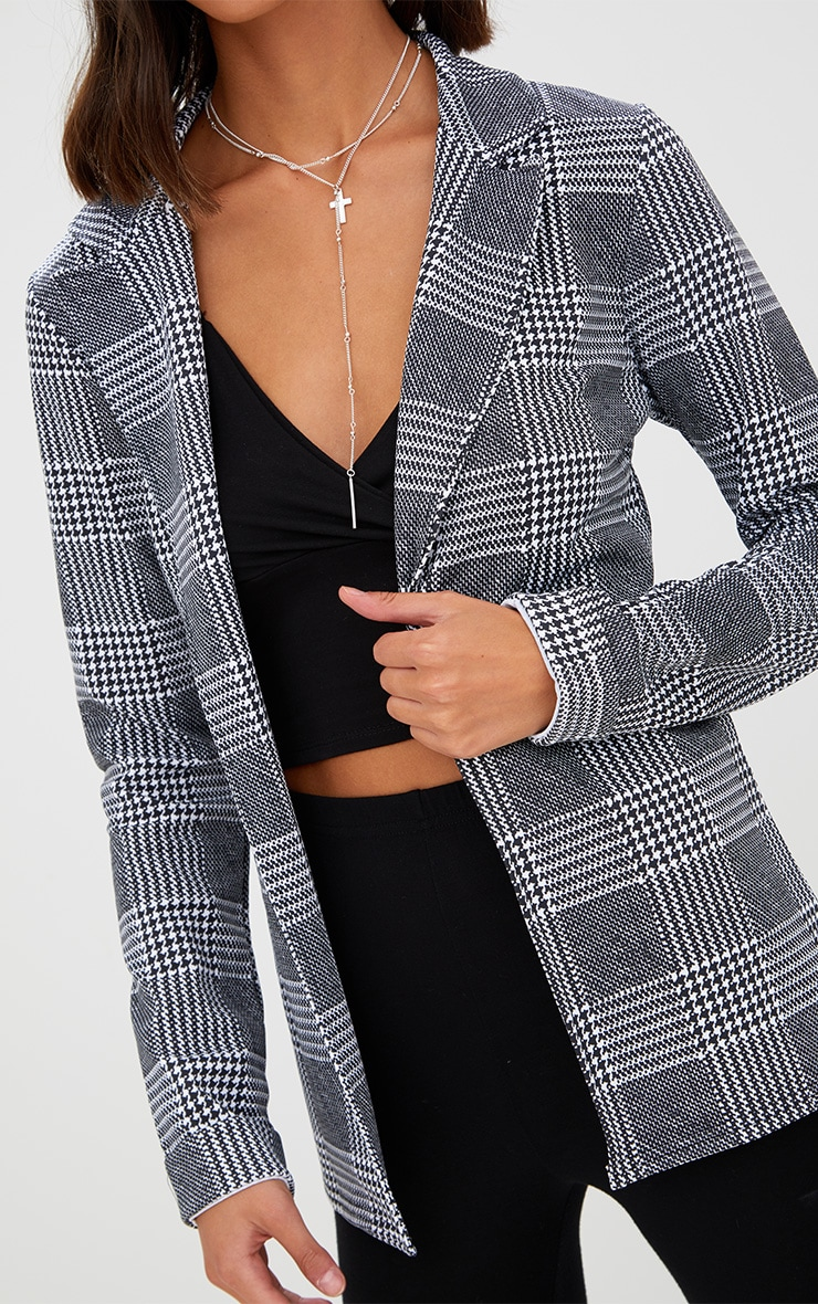 Black Check Long line Blazer 5