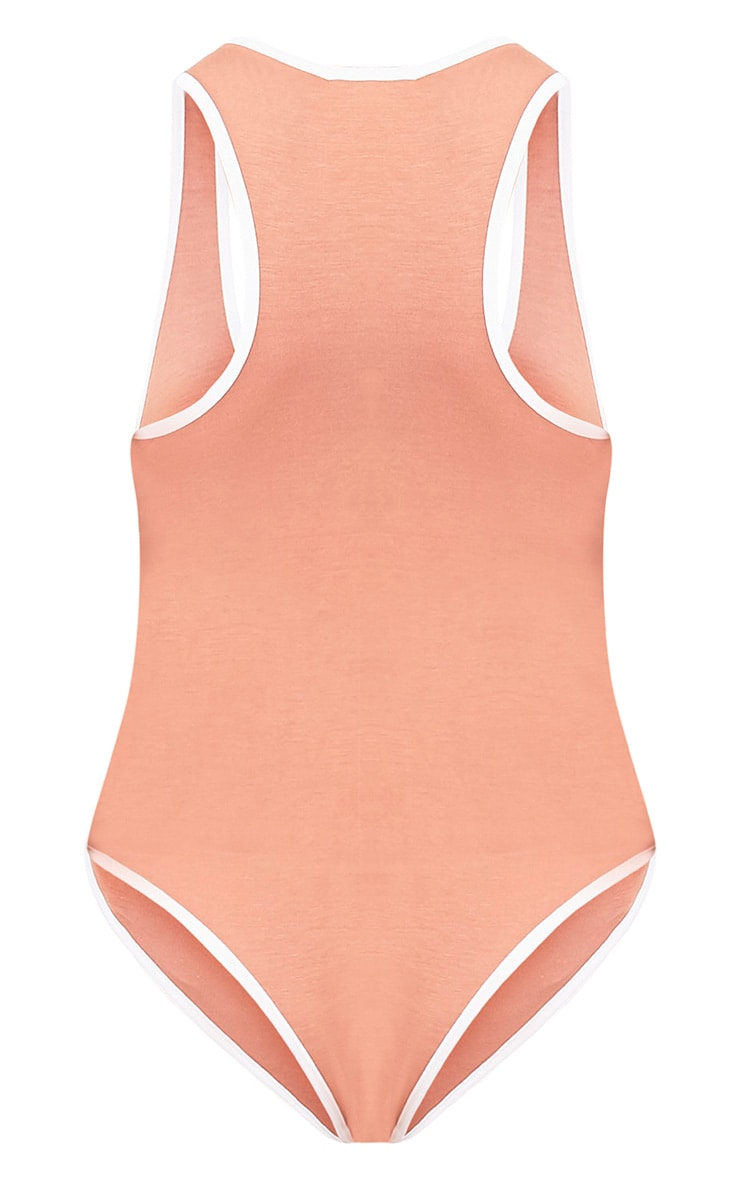 Basic Peach Jersey Contrast Thong Bodysuit 4