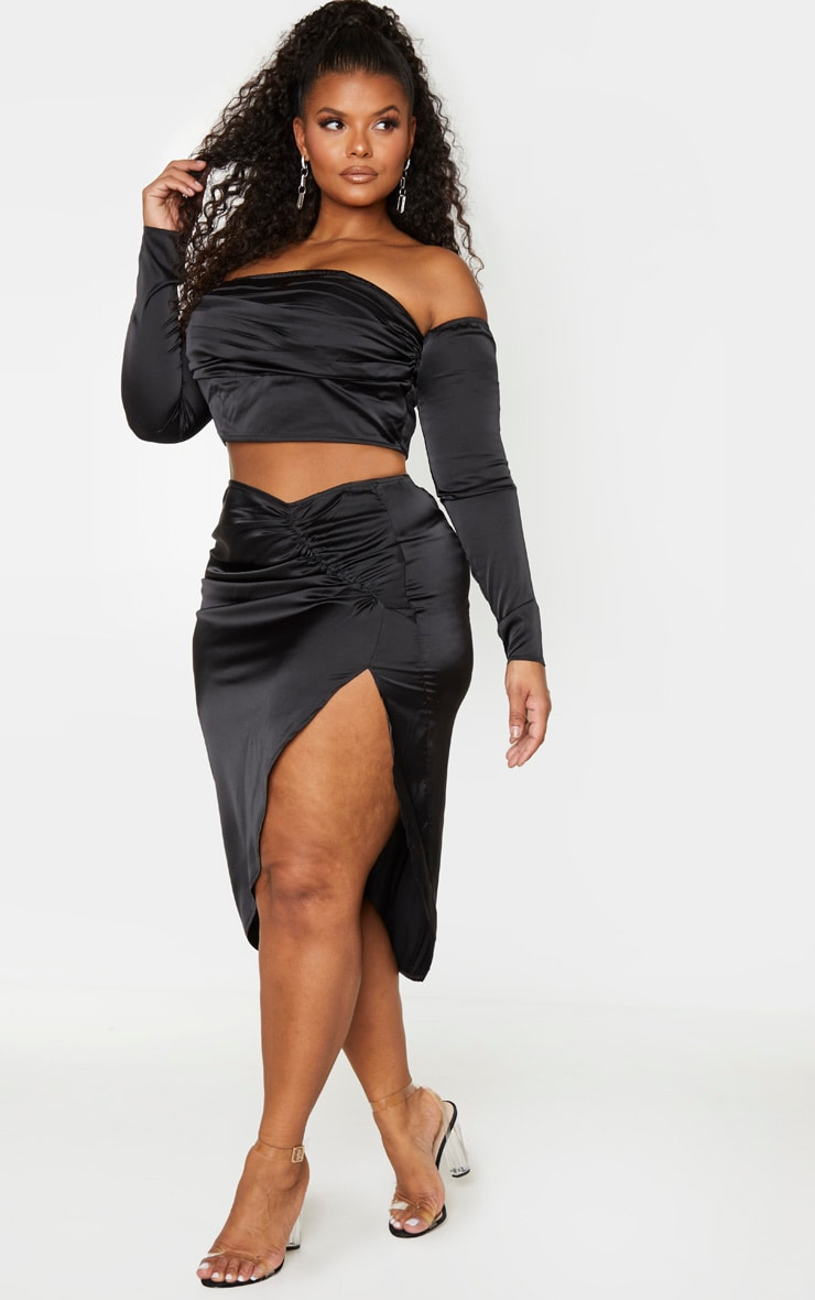 Plus Black Satin Ruching Split Midi Skirt 1