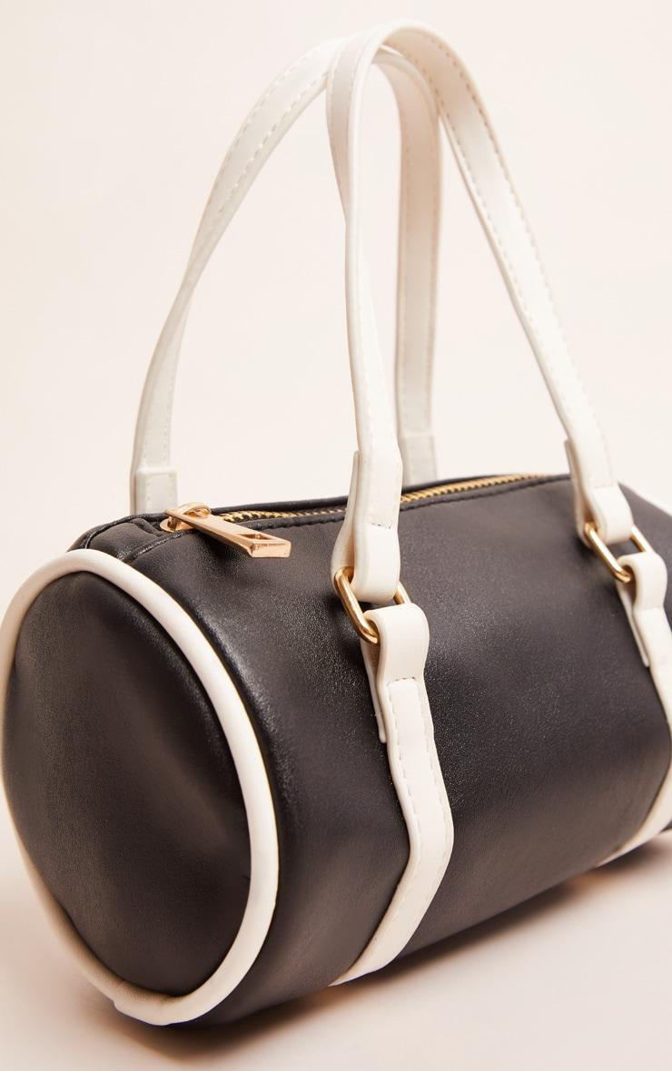 Mini-sac cylindrique noir et blanc 3