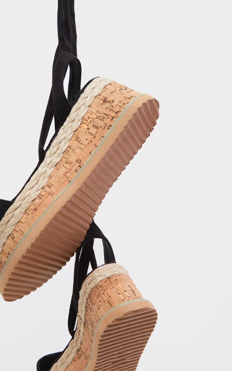 Niella Black Espadrille Flatform Sandals 4