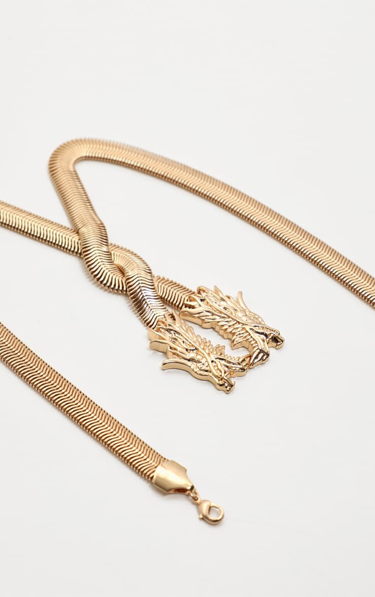 Gold Snake Chain Dragon Head Necklace 4