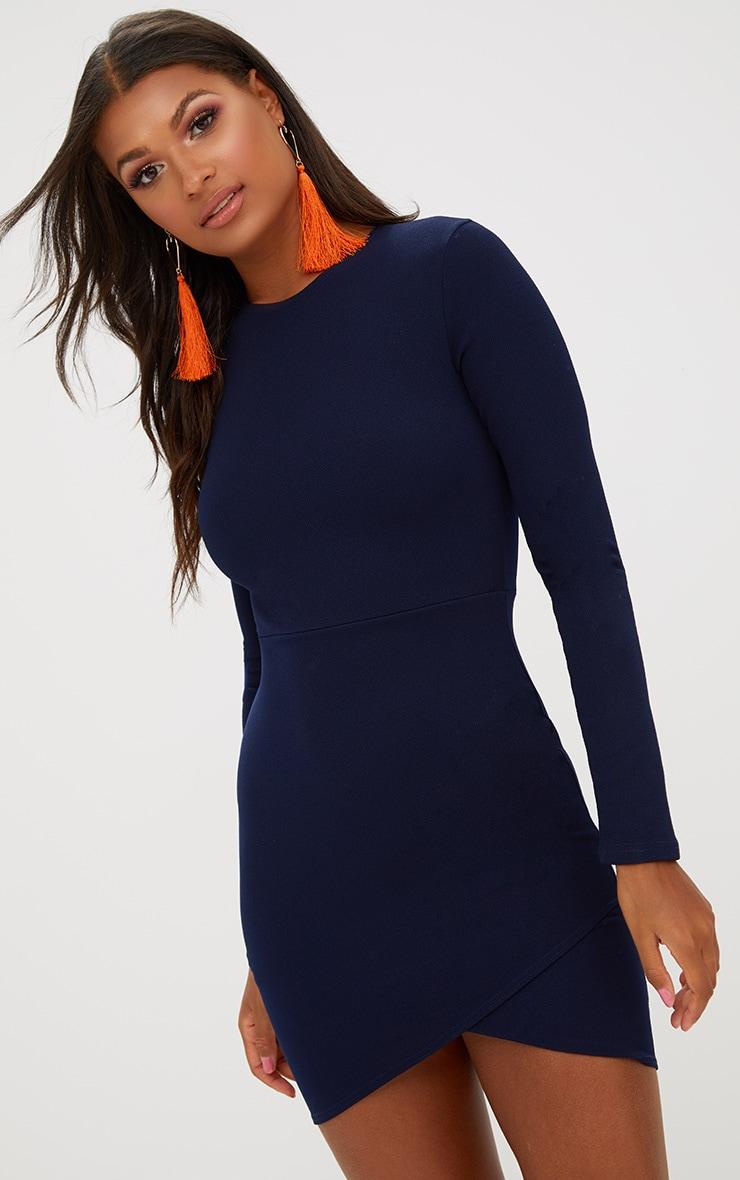 21e23d9d57 Navy Long Sleeve Wrap Skirt Bodycon Dress. Dresses | PrettyLittleThing
