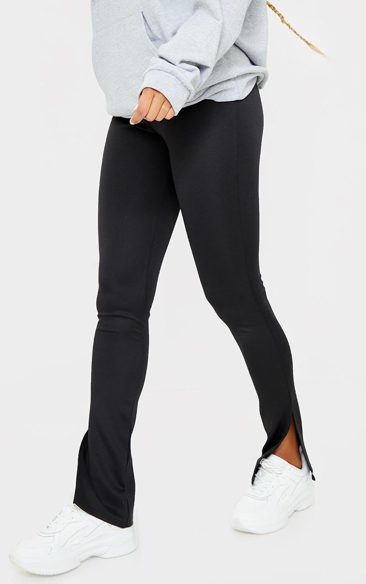 Black Scuba Split Hem Skinny Trousers 2