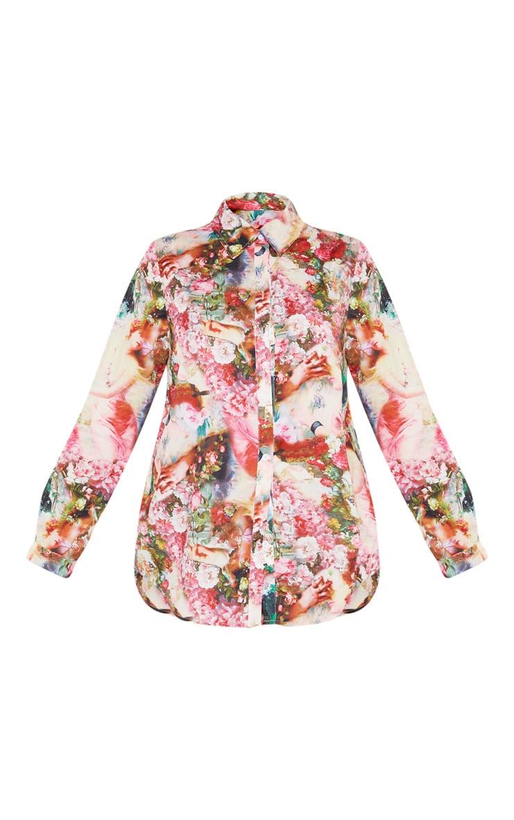Rose Femme Renaissance Print Oversized Shirt 3