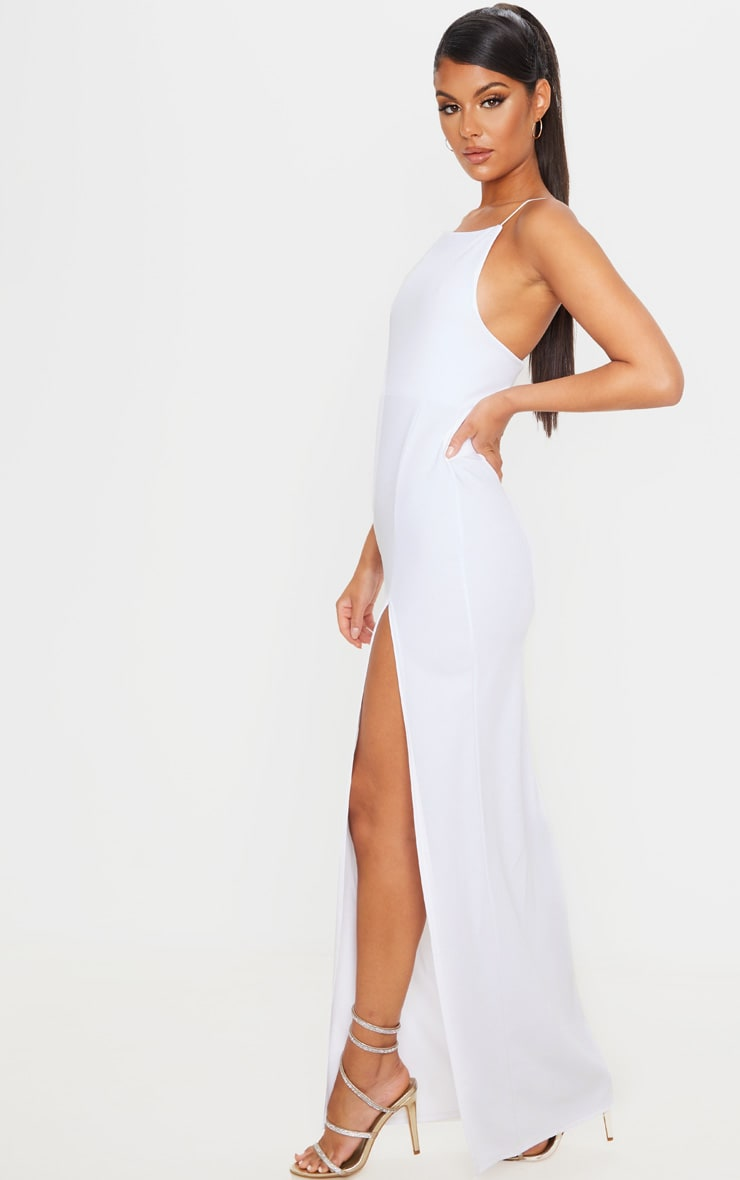 White Straight Neck Cross Back Maxi Dress 4