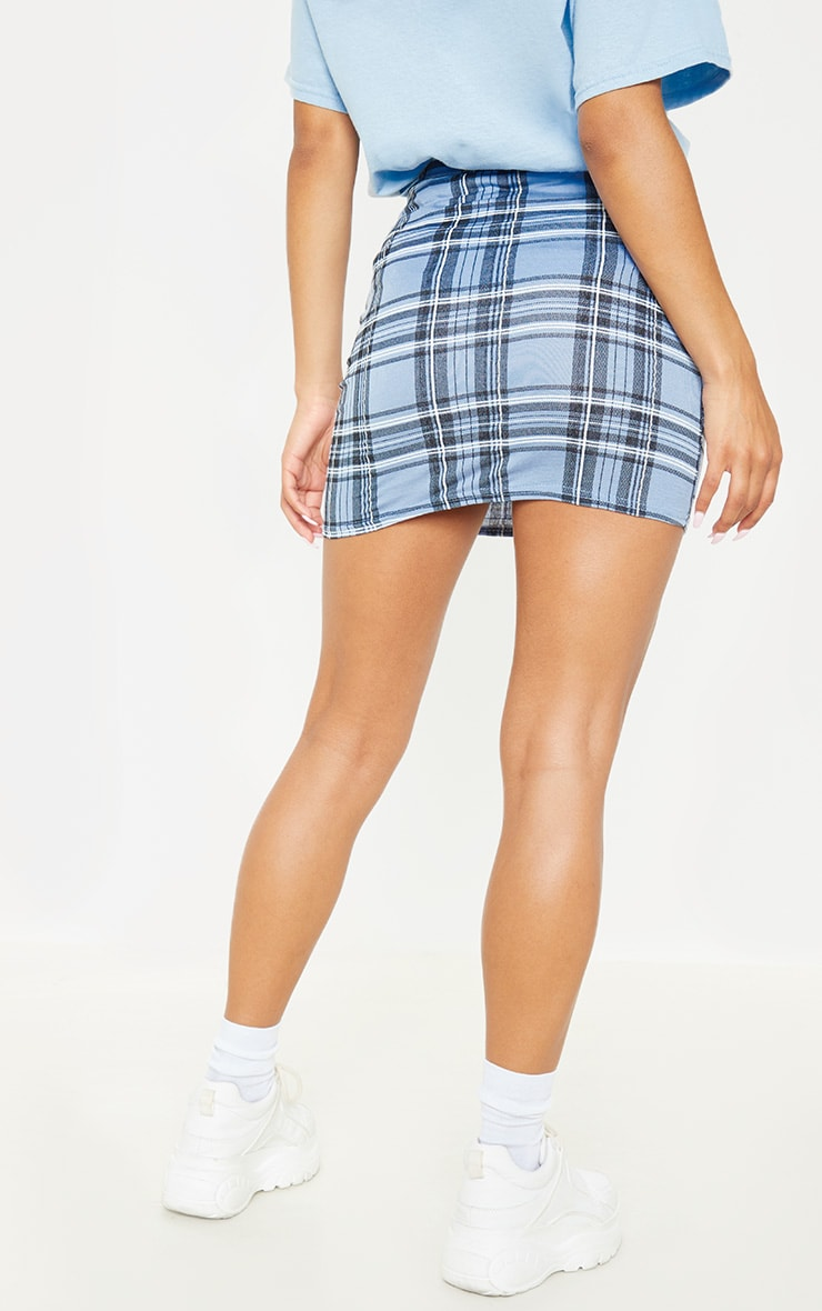 Pastel Blue Check Print Mini Skirt 2