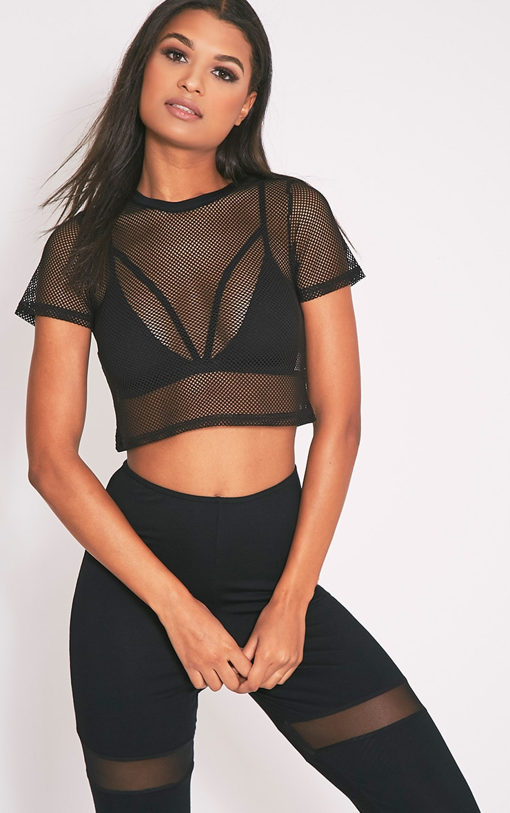 Mayce Black Fishnet Shortsleeve Crop Top