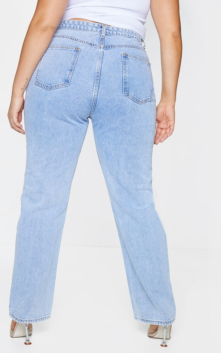 Plus Light Blue Wash Ripped Knee Long Leg Straight Jeans 3