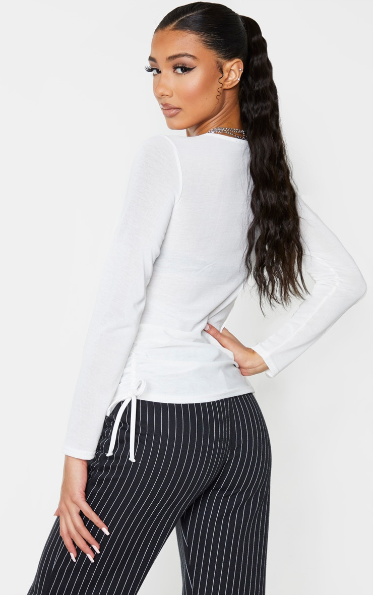 Cream Cotton Ruched Side Long Sleeve Top 2