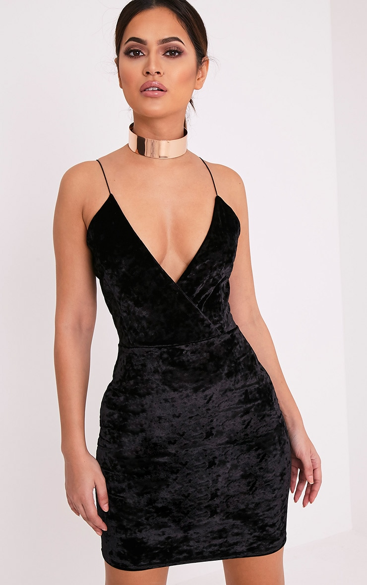 Jo Black Strappy Crushed Velvet Bodycon Dress 1