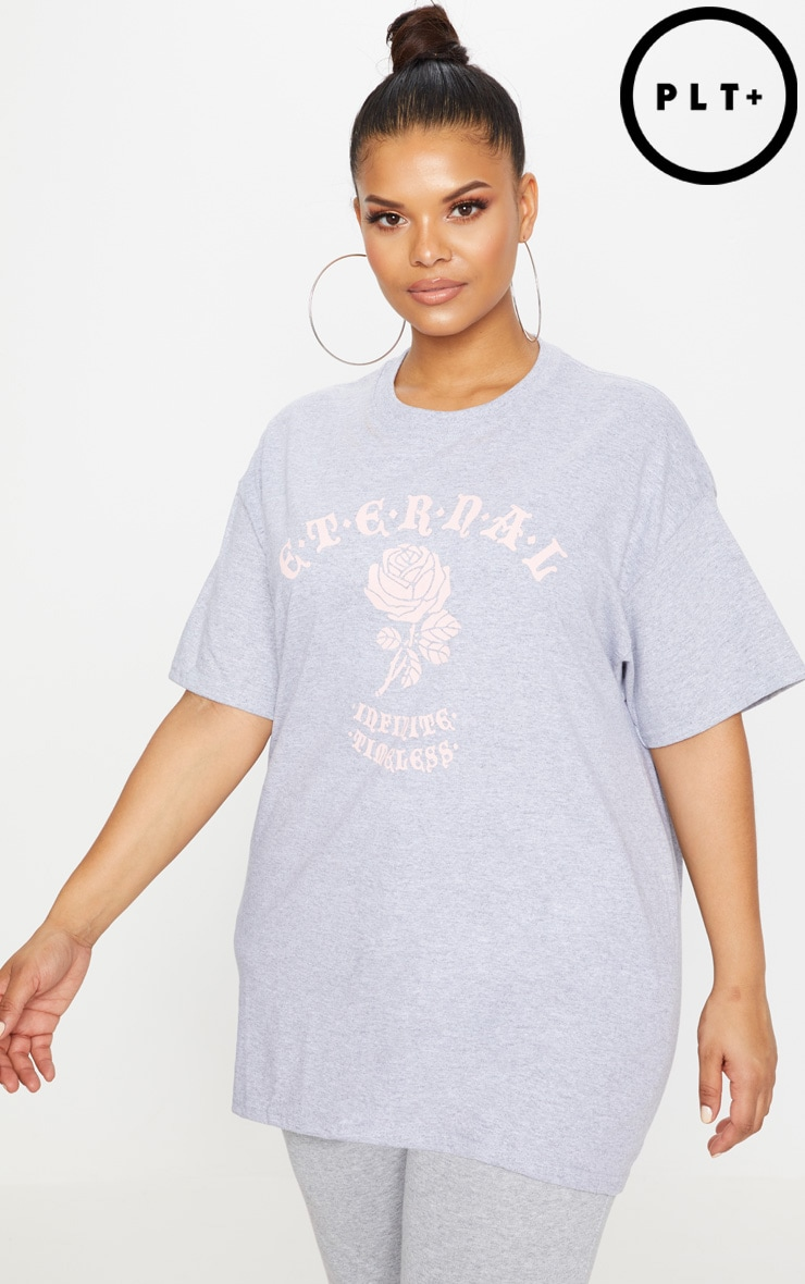 Plus Grey Eternal Print T Shirt 1