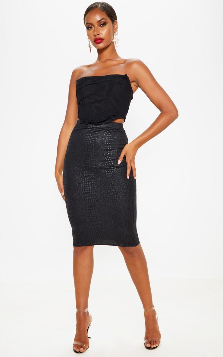 Black Croc Print Midi Skirt 1