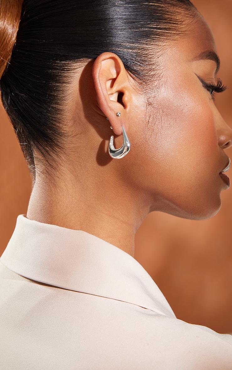 Silver Mini Oval Earrings 1