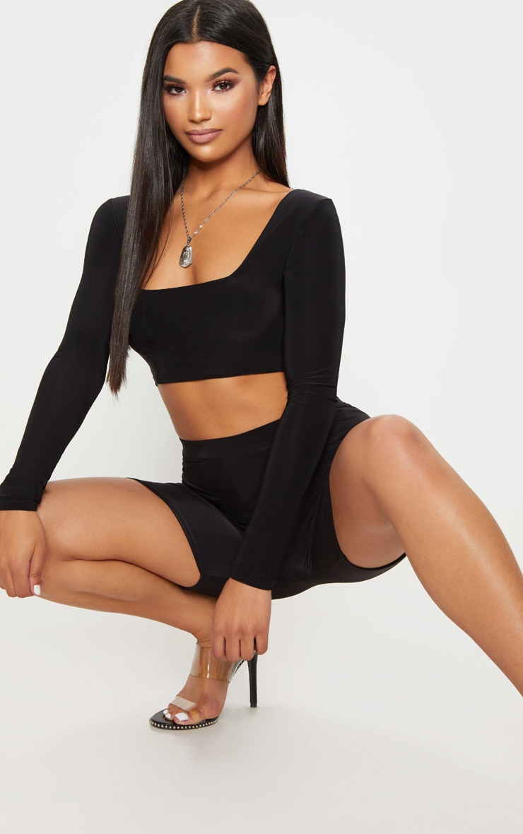 Black Second Skin Square Neck Long Sleeve Top 1