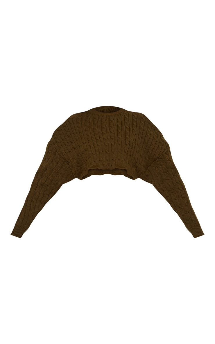 Khaki Cable Knit Crop Jumper & Legging Set 3