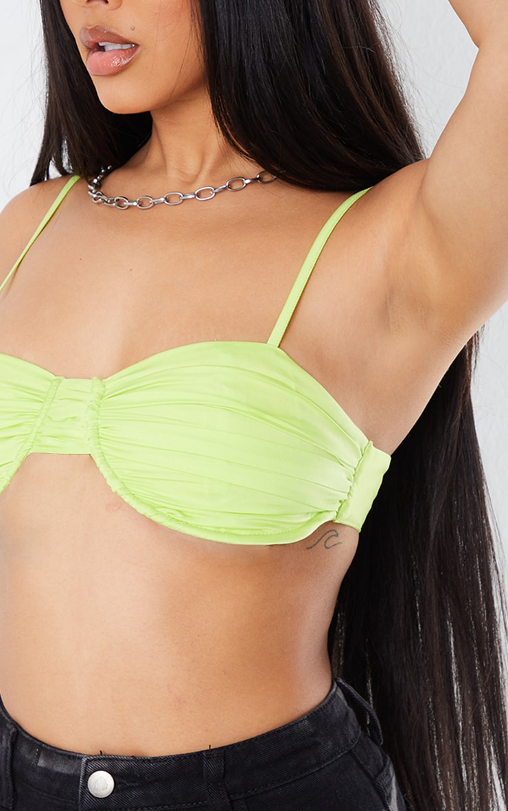 Neon Lime Satin Pleated Bust Underwire Bralet 4