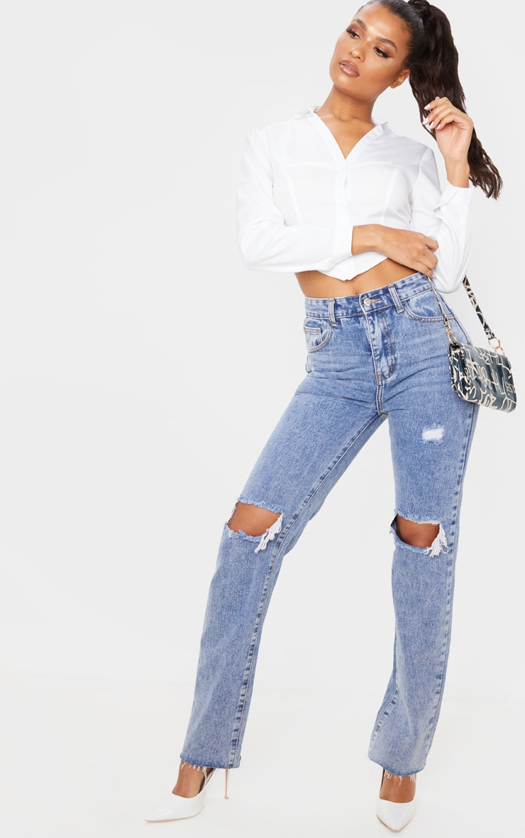 Vintage Wash High Rise Distressed Straight leg Jeans 6