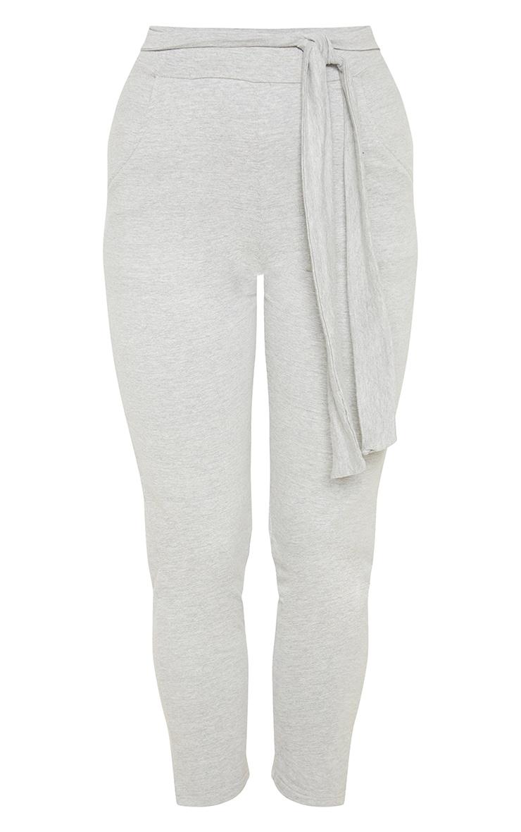 Grey Cotton Tie Waist Skinny Trouser 3