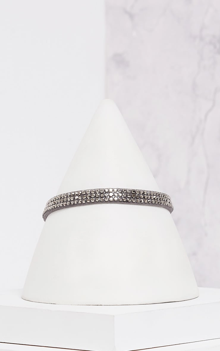 Sanie Dark Grey Diamante Choker 2