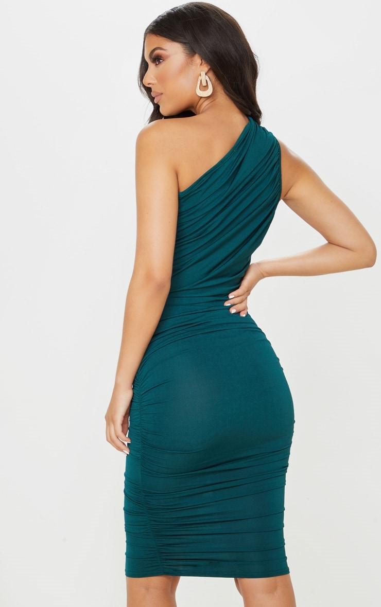 Petite Emerald Green Slinky Ruched One Shoulder Longline Midi Dress 2