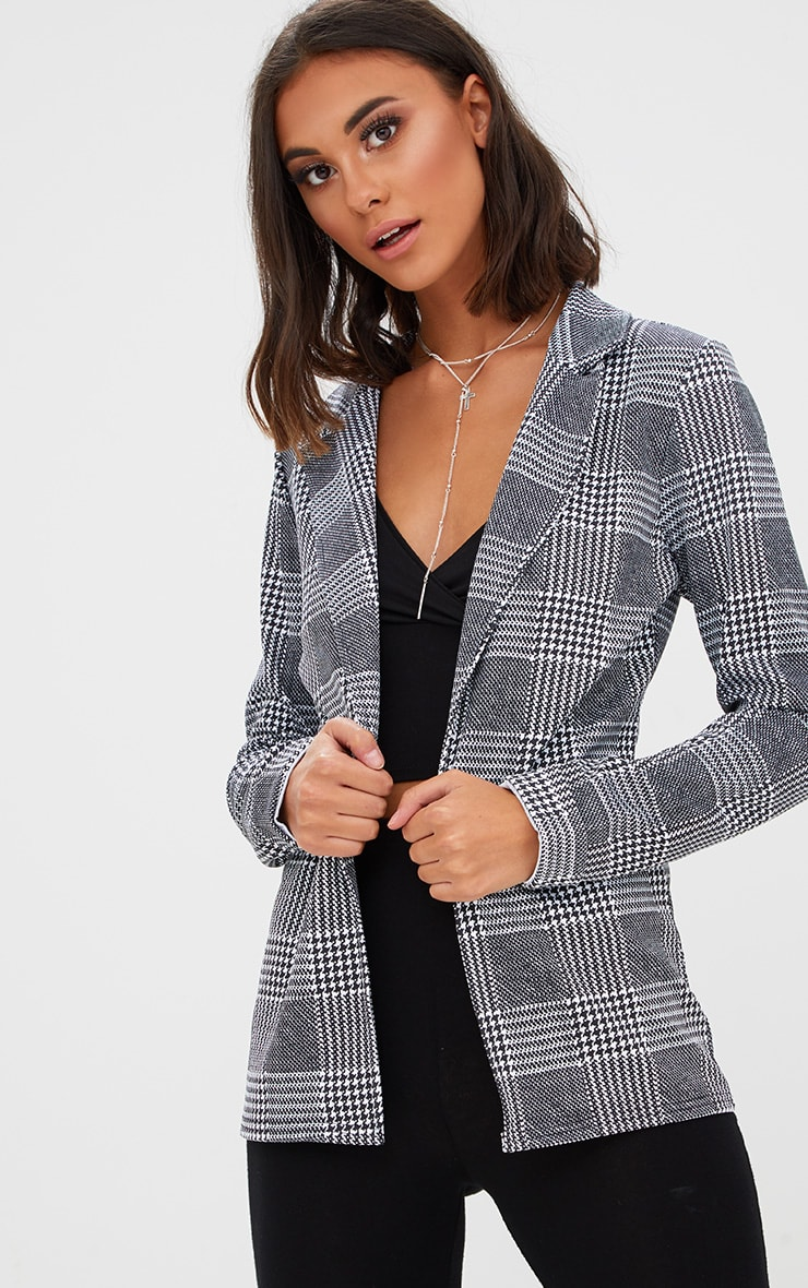 Black Check Long line Blazer 1
