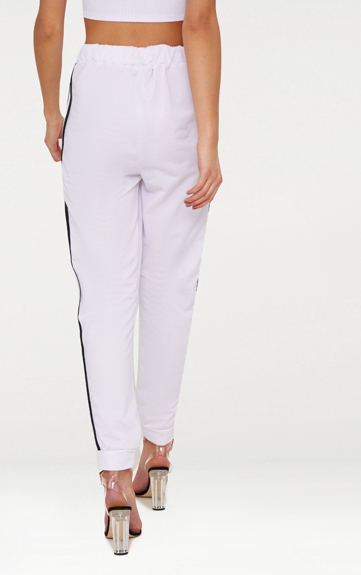 White Sport Stripe Joggers 4