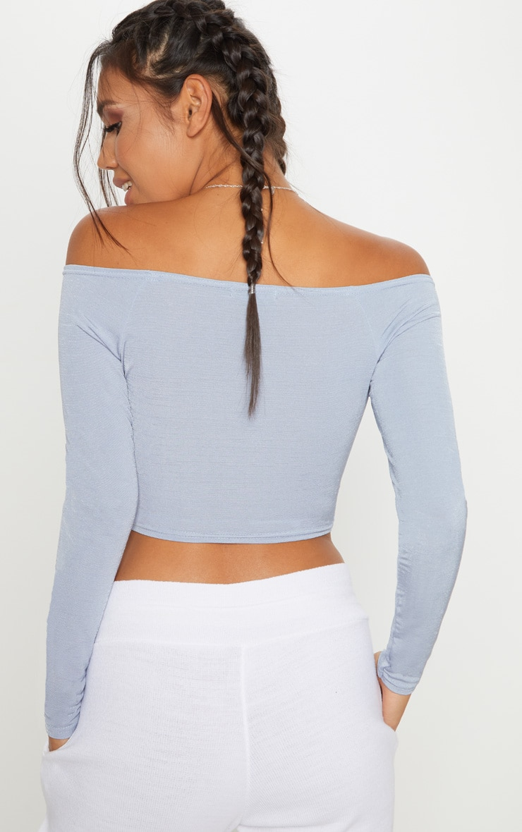 Powder Blue Slinky Ruched Front Long Sleeve Crop Top 2