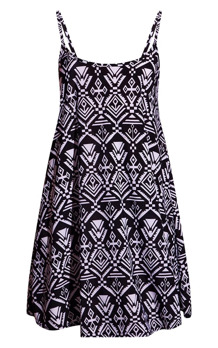 Black Aztec Print Strappy Smock Dress 3