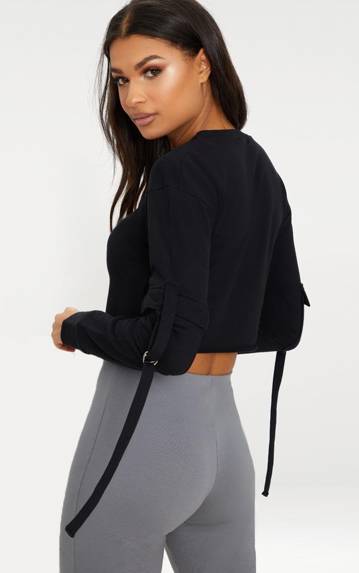 Black Cargo Pocket Oversized Crop Sweater 2