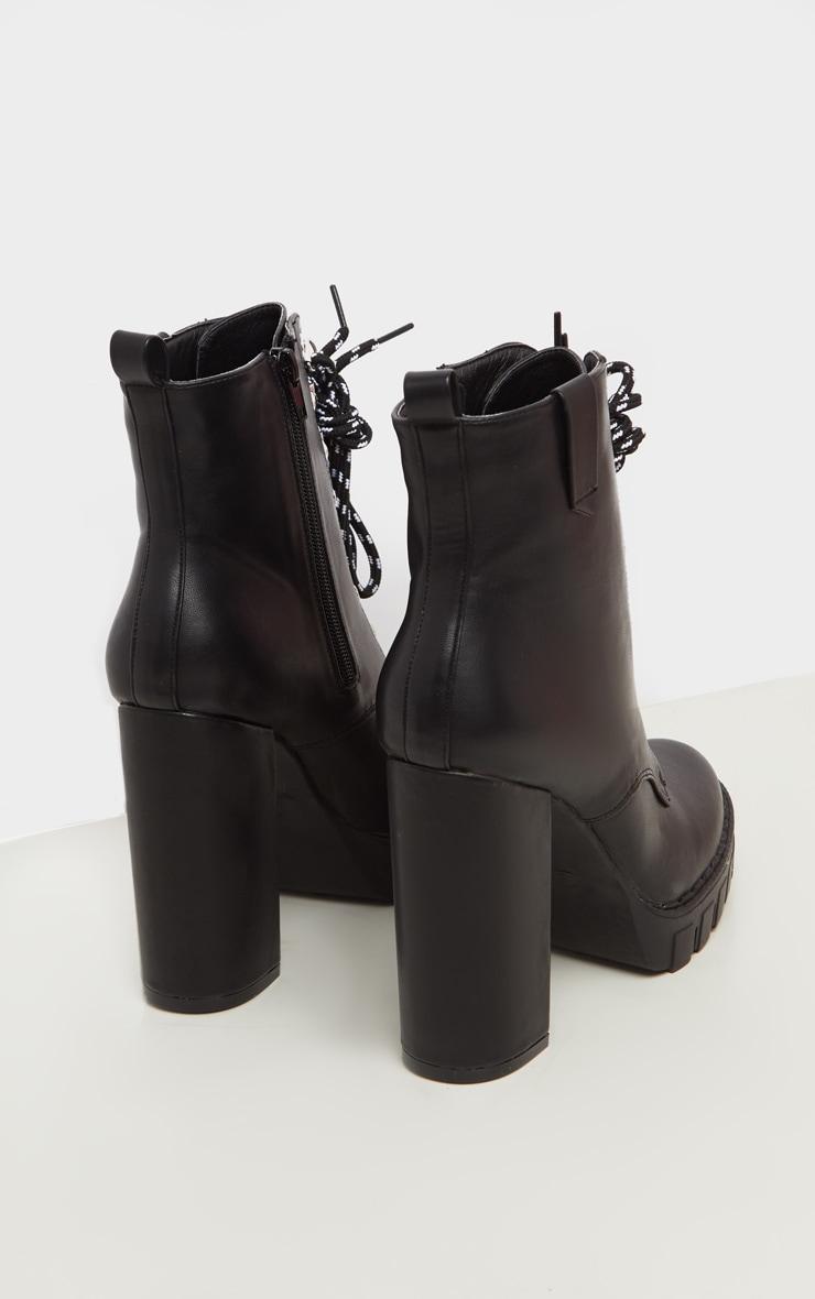 Black Hiker Lace Up High Platform Ankle Boot 4