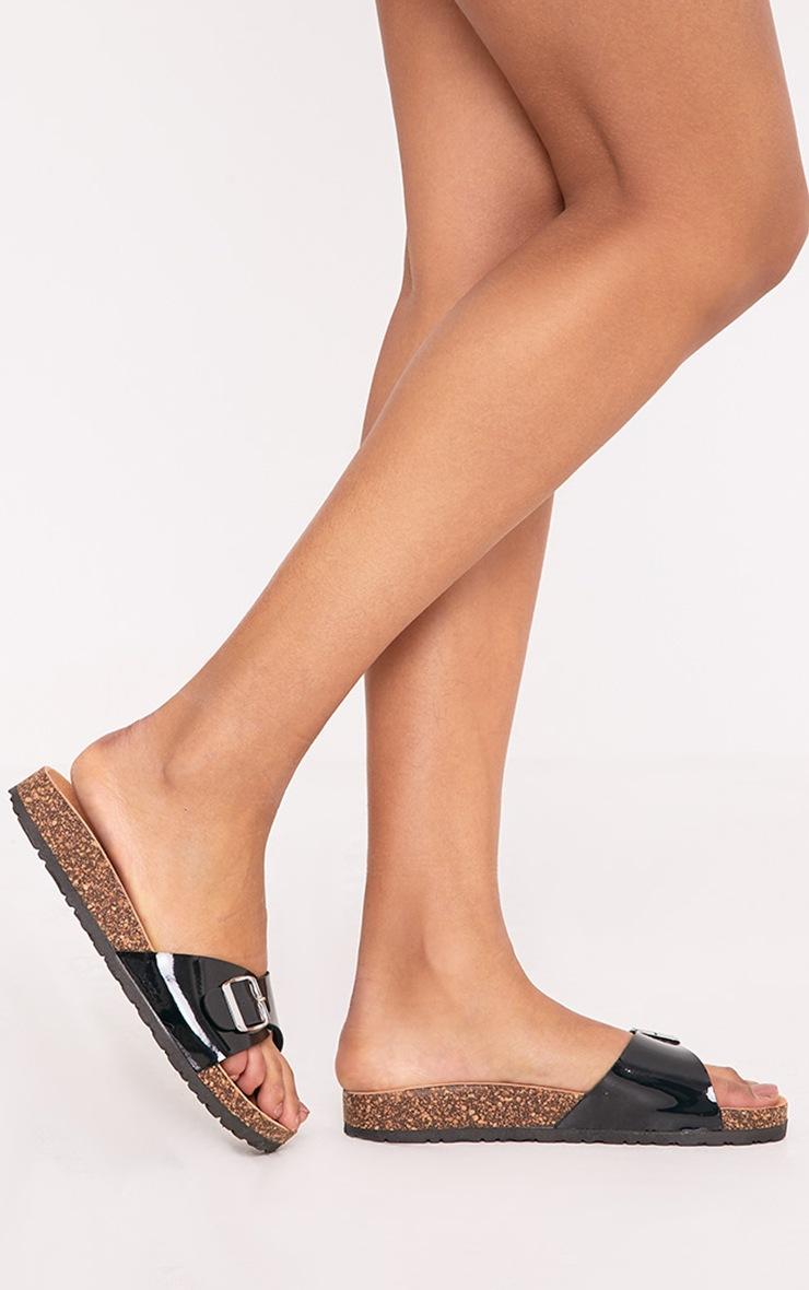 Charlene Black  Metallic Strap Sandals 3