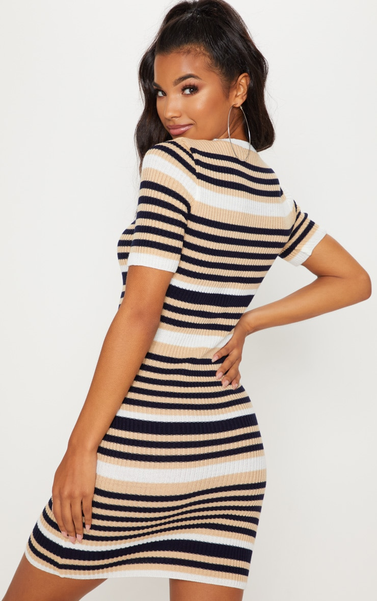 Cream  Striped Knitted Short Sleeve Dress 2