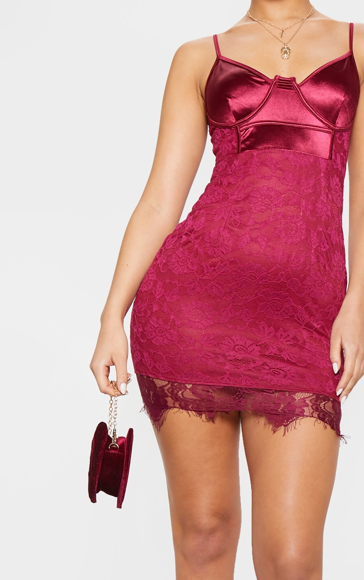 Burgundy Satin Top Bustier Lace Bodycon Dress 4