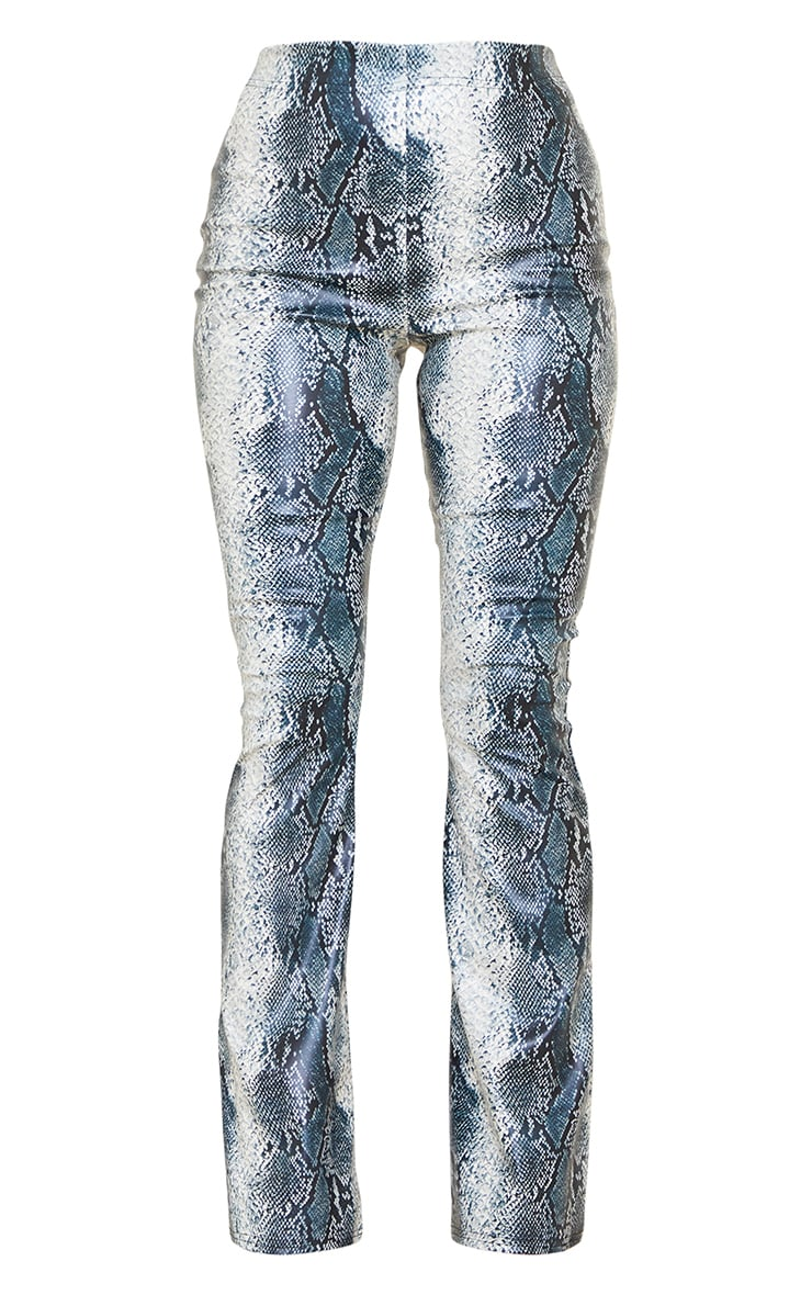 Tall Grey Snake Print PU Flared Pants 5