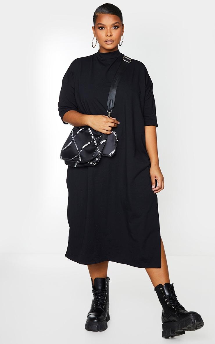 Plus Black Oversized Midi T Shirt Dress 1