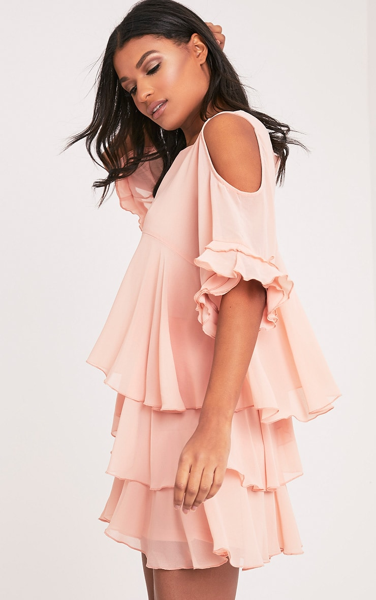 Tessa Blush Cold Shoulder Ruffle Swing Dress 4