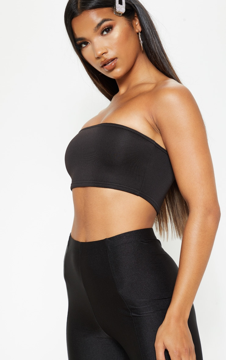 Black Scuba Bandeau Crop Top 5