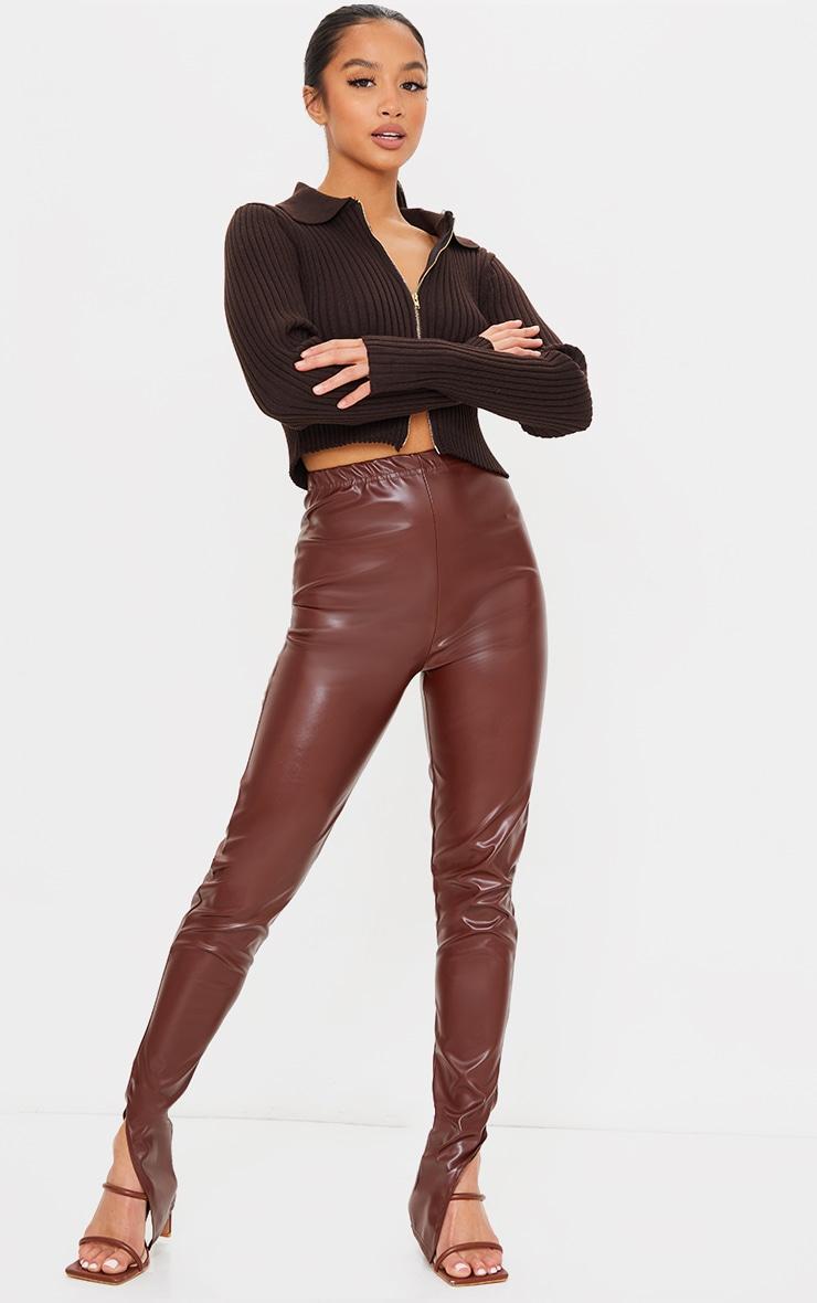 Petite Chocolate Faux Leather Split Hem Leggings 1