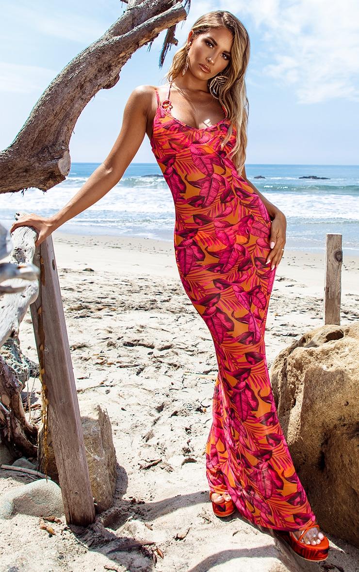 Orange Palm Leaf Mesh Maxi Beach Dress 1