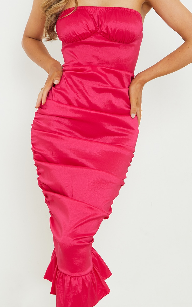 Hot Pink Taffeta Bust Seam Ruched Bandeau Midi Dress 4